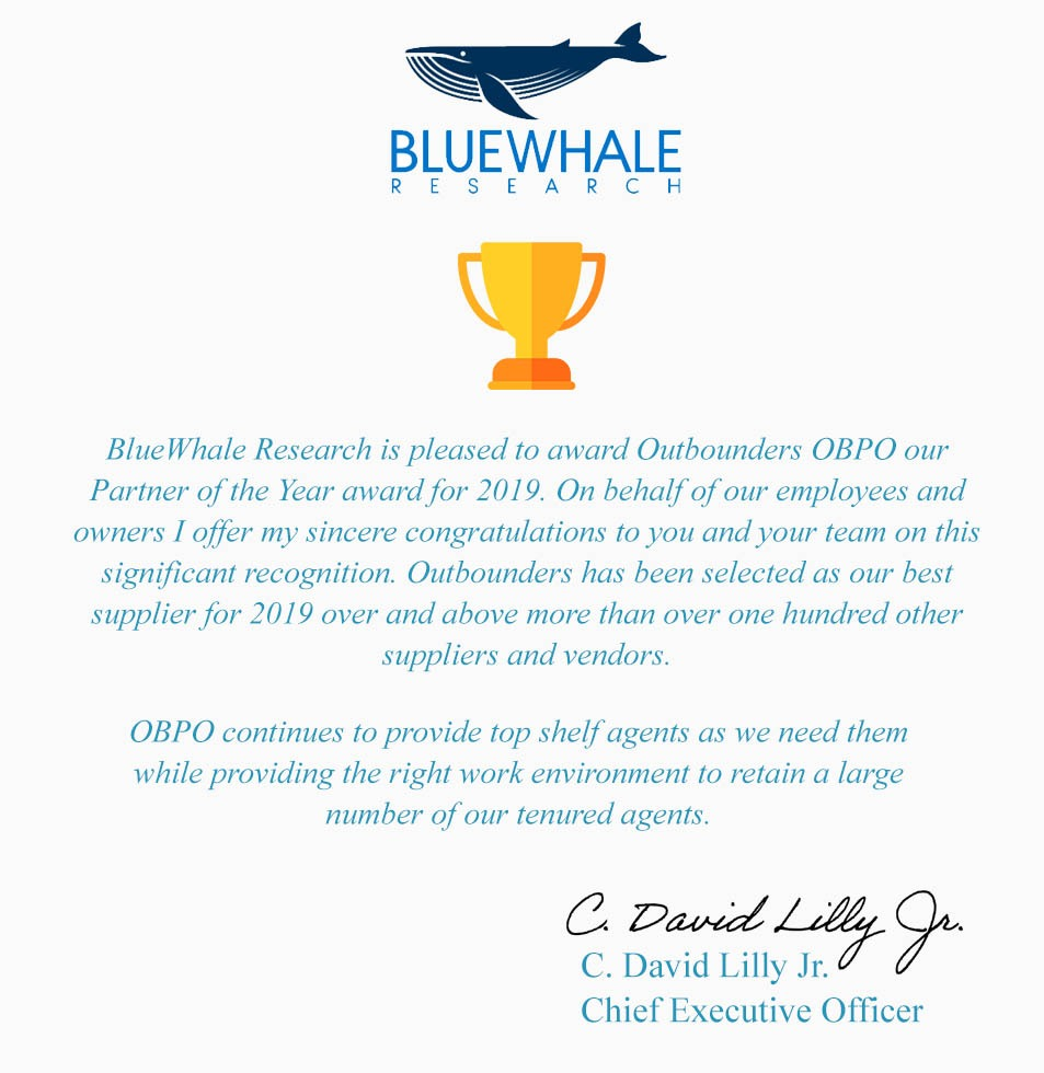 bluewhale research outstanding award plaque